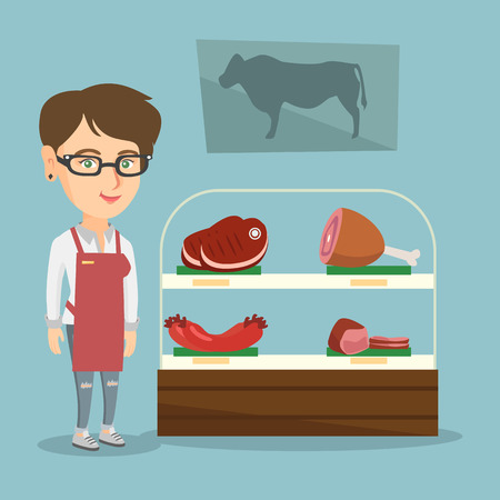 Young caucasian saleswoman offering fresh meat in the butcher shop. Smiling butcher standing on the background of the showcase of butcher shop. Vector cartoon illustration. Square layout. Ilustrace