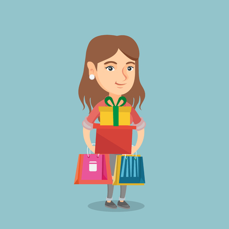 Caucasian woman holding shopping bags and gift boxes. Young woman carrying shopping bags and gift boxes. Full length of woman standing with shopping bags. Vector cartoon illustration. Square layout.