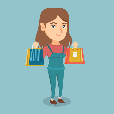Young smiling caucasian woman holding shopping bags. Full length of woman standing with a lot of shopping bags with purchases. Woman showing shopping bags. Vector cartoon illustration. Square layout.