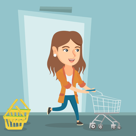 Young caucasian woman running into the shop with an empty shopping trolley. Woman rushing to shopping. Cheerful woman pushing an empty supermarket trolley. Vector cartoon illustration. Square layout.
