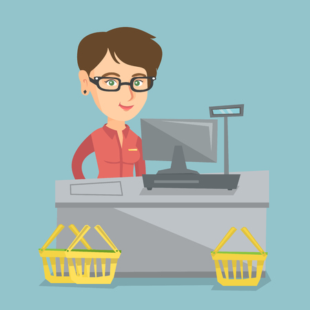 Young caucasian cashier standing at the checkout with a cash register in the supermarket. Smiling cashier working at the checkout in the supermarket. Vector cartoon illustration. Square layout.
