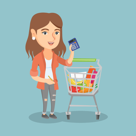 Young caucasian woman standing next to the supermarket trolley full of products and holding a calculator in hand. Woman checking prices on a calculator. Vector cartoon illustration. Square layout. Illustration