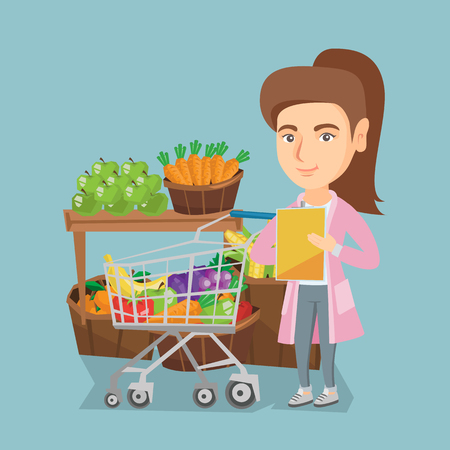 Caucasian woman standing next to the shopping cart with products and checking a shopping list on the background of supermarket section with vegetables and fruit. Vector cartoon illustration. Square layout. Vectores