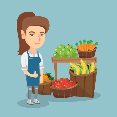 Young caucasian saleswoman giving thumb up while standing on the background of stall with vegetables and fruit. Saleswoman selling fruit and vegetables. Vector cartoon illustration. Square layout. Vectores