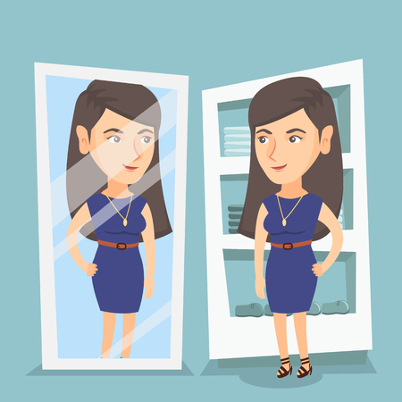 Young caucasian woman looking in the mirror in the dressing room. Woman trying on dress in the dressing room. Woman choosing clothes in dressing room. Vector cartoon illustration. Square layout. Illustration