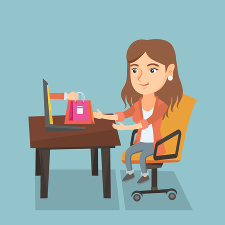 Young caucasian woman getting shopping bags from a laptop. Happy woman making an online order in a virtual shop. Woman using a laptop for online shopping. Vector cartoon illustration. Square layout.