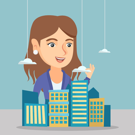 Young caucasian sales manager presenting the model of city. Delighted sales manager working with the project of a new modern district of the city. Vector cartoon illustration. Square layout.