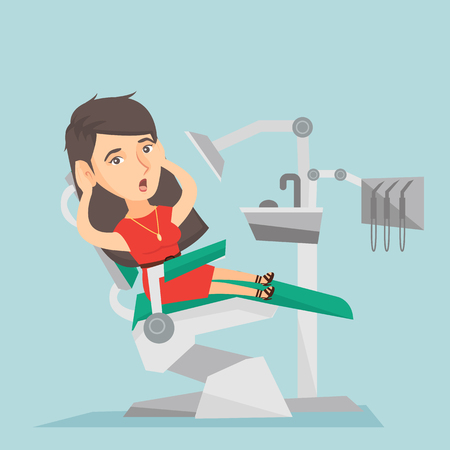 frightful: Frightened caucasian patient sitting in the dental chair in the office of a dentist. Scared woman visiting a dentist in the dental clinic. Vector cartoon illustration. Square layout.