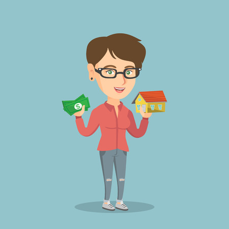 Glad caucasian woman holding money and the model of house. Woman having loan for buying a house. Woman got loan for buying a house. Real estate loan concept. Vector cartoon illustration. Square layout