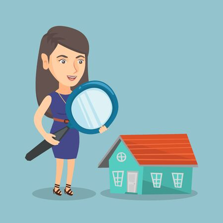 Young caucasian business woman using a magnifying glass for looking for a new house. Business woman using a magnifying glass to look closer at a house model. Vector cartoon illustration. Square layout
