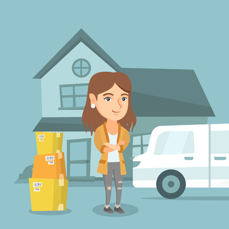 Young happy caucasian woman moving to a new house. Smiling homeowner standing on the background of new house and pantechnicon van with cardboard boxes. Vector cartoon illustration. Square layout.