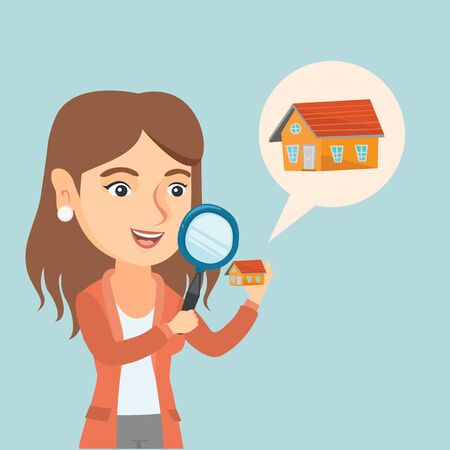 Young caucasian smiling woman looking for a new house in real estate market. Cheerful woman using a magnifying glass to look closer at a house model. Vector cartoon illustration. Square layout. Illustration