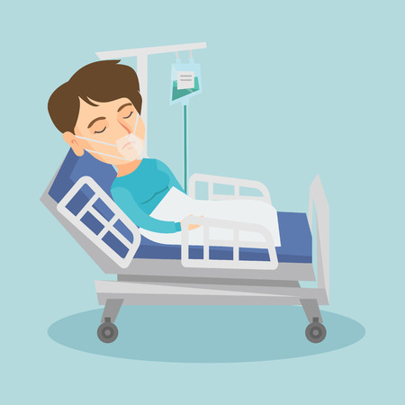 Caucasian woman lying in hospital bed with an oxygen mask. Woman during medical procedure with a drop counter. Patient recovering in bed in a hospital. Vector cartoon illustration. Square layout. Illustration