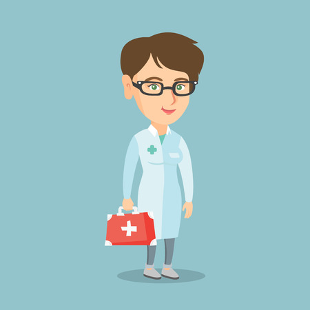 Caucasian doctor in medical gown holding a first aid box. Full length of young doctor standing with a first aid kit. Doctor carrying a first aid box. Vector cartoon illustration. Square layout.