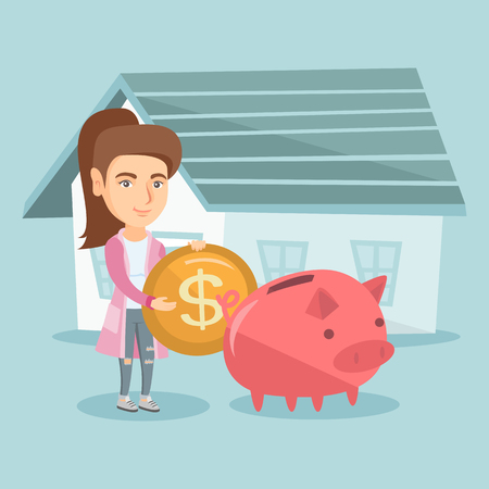 Young caucasian woman putting a dollar coin in a piggy bank on the background of house. Concept of saving money and money investment in real estate. Vector cartoon illustration. Square layout.