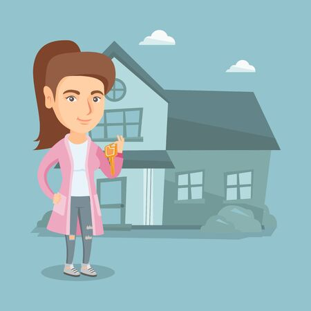 Happy caucasian homeowner showing key to a new house. Young smiling real estate agent with key standing on the background of house. Vector cartoon illustration. Square layout.