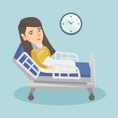 Caucasian sick woman with fever laying in bed. Young sick woman measuring temperature with a thermometer. Sick woman suffering from cold or flu virus. Vector cartoon illustration. Square layout.