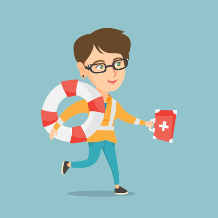 Young caucasian paramedic running to patients. Paramedic running with a first aid box and a lifebuoy. Emergency doctor running with a first aid box. Vector cartoon illustration. Square layout. Illustration