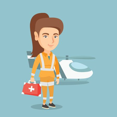 Young caucasian doctor of air ambulance standing on the background of rescue helicopter. Full length of a doctor of air ambulance holding a first aid box. Vector cartoon illustration. Square layout. Illustration