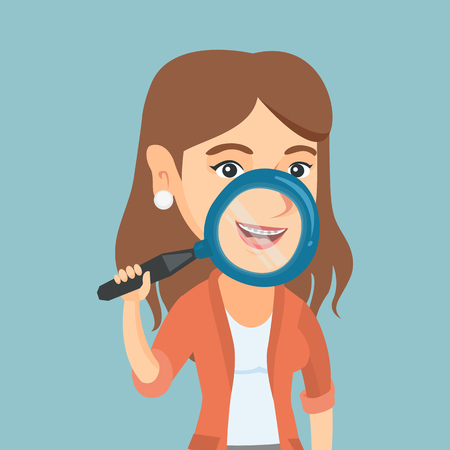 Young caucasian smiling woman holding a magnifying glass in front of her teeth with braces. Woman demonstrating her teeth with braces through a magnifier. Vector cartoon illustration. Square layout. Illustration