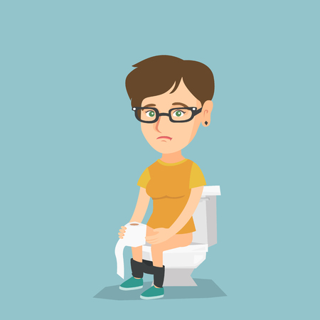 Caucasian woman sitting on the toilet bowl and suffering from diarrhea. Woman holding toilet paper roll and suffering from diarrhea. Girl sick with diarrhea. Vector cartoon illustration. Square layout