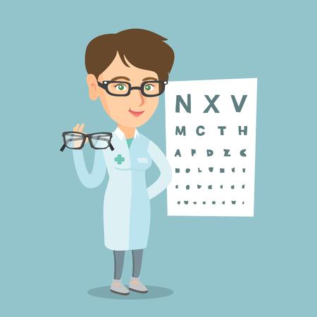 Jonge Kaukasische oftalmoloog arts die glazen geeft. Oftalmoloog die oogglazen op de achtergrond van ooggrafiek houdt. Oftalmoloog aanbieden van een bril.