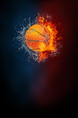 Moderne Plakatschablone des Basketball-Sportturniers. Hochauflösende HR Postergröße 24x36 Zoll, 31x91 cm, 300 dpi, vertikales Design, Textfreiraum. Basketball Ball explodiert durch Elemente Feuer und Wasser.