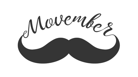 testicular: Vintage black curly moustache and hand lettered phrase Movember for poster, banner and card. Movember cancer awareness concept. Hand drawn vector illustration of moustache isolated on white background