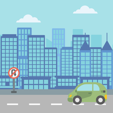 Background of modern city with a car on a road vector  vector flat design illustration. Square layout.