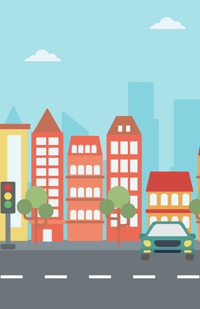 Background of modern city with a car on a road vector  vector flat design illustration. Vertical layout.