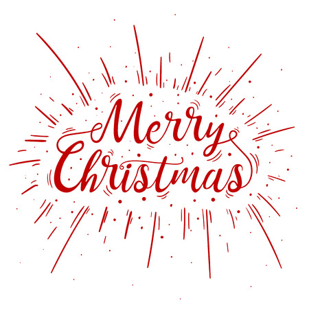 Hand lettered red Merry Christmas text with firework burst for poster, banner and holiday greeting card. Merry Christmas and holiday concept. Vector hand drawn cartoon illustration on white background Illustration