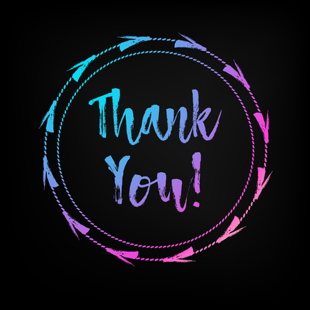 Hand lettered multicolored Thank You text with decorative frame for poster, banner and greeting card. Thanksgiving Day and holiday concept. Vector hand drawn cartoon illustration on black background. Illustration