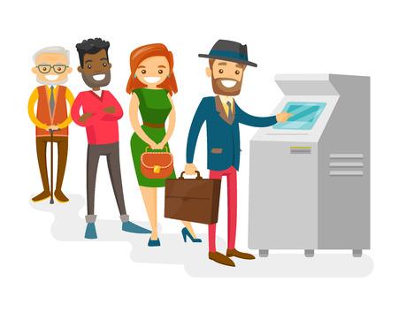 ATM에 대기열에 서 백인 백인 및 아프리카 계 미국인 젊은 고위 사람들의 그룹. 현금 인출 ATM에서 대기하는 다문화 행복 한 사람들. 벡터 격리 된 만화  일러스트