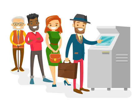 Group of Caucasian white and African-american young and senior people standing in a queue to the ATM. Multicultural happy people queuing to withdraw cash at ATM. Vector isolated cartoon illustration.