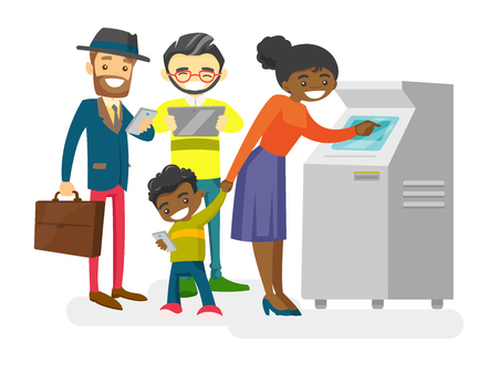 Group of Caucasian white, Asian and African-american young people standing in a queue to the ATM. Multiracial happy people using gadgets in a queue to the ATM. Vector isolated cartoon illustration.