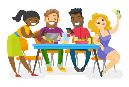 Multiethnic group of young friends sitting together at the table with smartphones and tablet computer. Caucasian white and African friends hanging out together. Vector isolated cartoon illustration. Ilustração