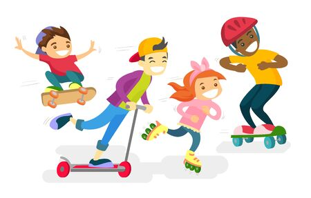 Group of happy multiethnic children playing outdoor. African-american, caucasian white and Asian boys and girl riding a skateboard, kick scooter and roller skates. Vector isolated cartoon illustration Illustration