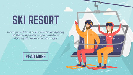 Ski resort web page template. Smiley Caucasian white man and woman skiers sitting on ski lift with raised hands. Winter leisure sport activity concept. Vector flat design illustration with copyspace. Иллюстрация