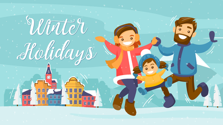 Christmas and New Year inspired winter Holiday card with small town next to Mountain landscape and jumping happy family. Vector flat design family Holiday weekend illustration for poster, card, banner
