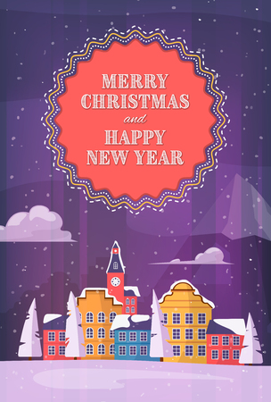 Merry christmas and Happy New Year winter Holiday post card with small city at night next to Mountain landscape. Vector cityscape flat design illustration for poster, card, banner.