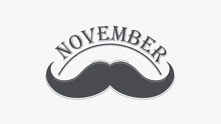 testicular: Vintage black curly mustache and hand lettered phrase November for poster, banner and card.