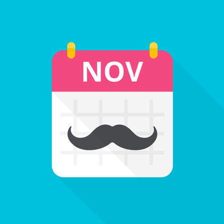 November cancer awareness month icon. Calendar with vintage black curly mustache that remind about annual event.