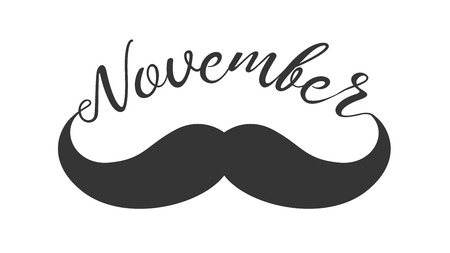Vintage black curly mustache and hand lettered phrase November for poster, banner and card.