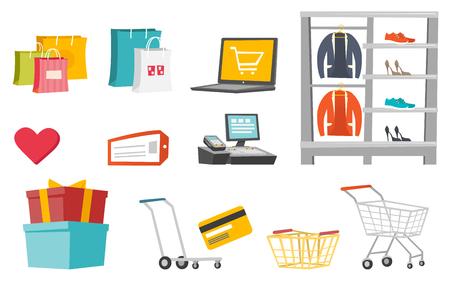 Shopping illustrations set. Illustration