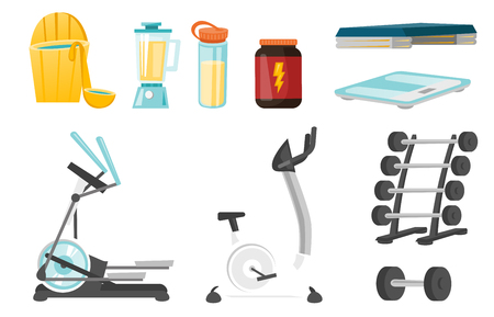 Sport equipment and supplies illustrations set.