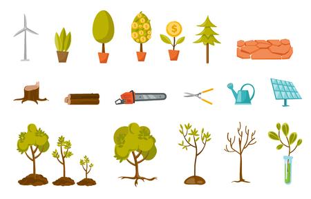 Trees and plant illustrations set. Illustration