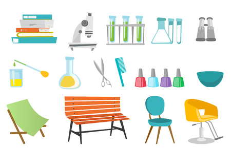 Hairdressing accessories and laboratory equipment illustrations set.