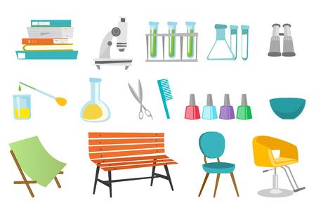 Kappersaccessoires en illustraties van laboratoriumapparatuur ingesteld. Stock Illustratie