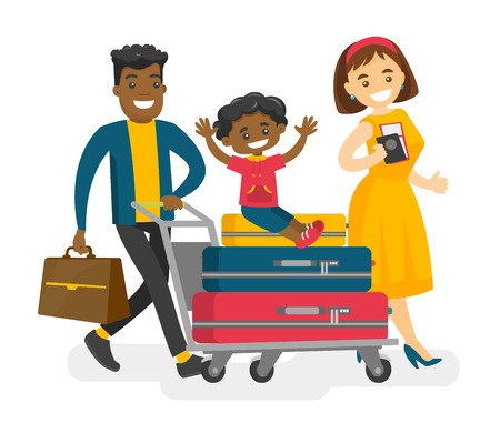 African husband pushing a luggage cart with suitcases and his mulatto son while his caucasian white wife walking nearby.