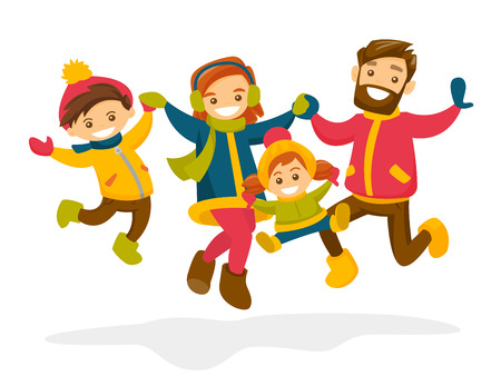 Caucasian white family jumping and having fun together in winter. Illustration
